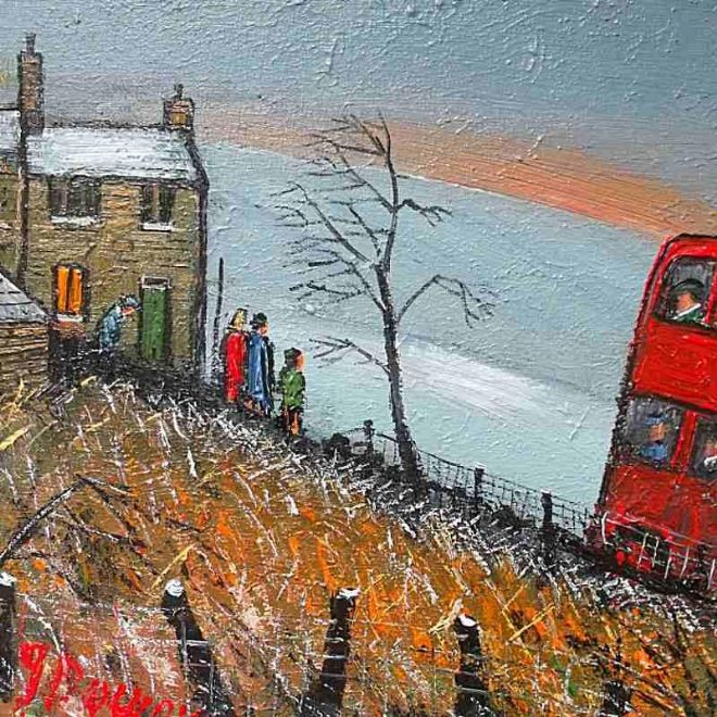 James Downie Original Oil Painting Waiting For The Bus
